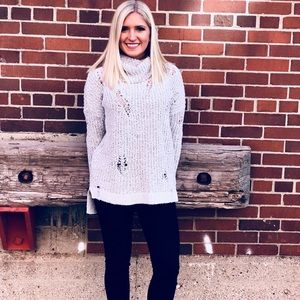 Express distressed gray sweater